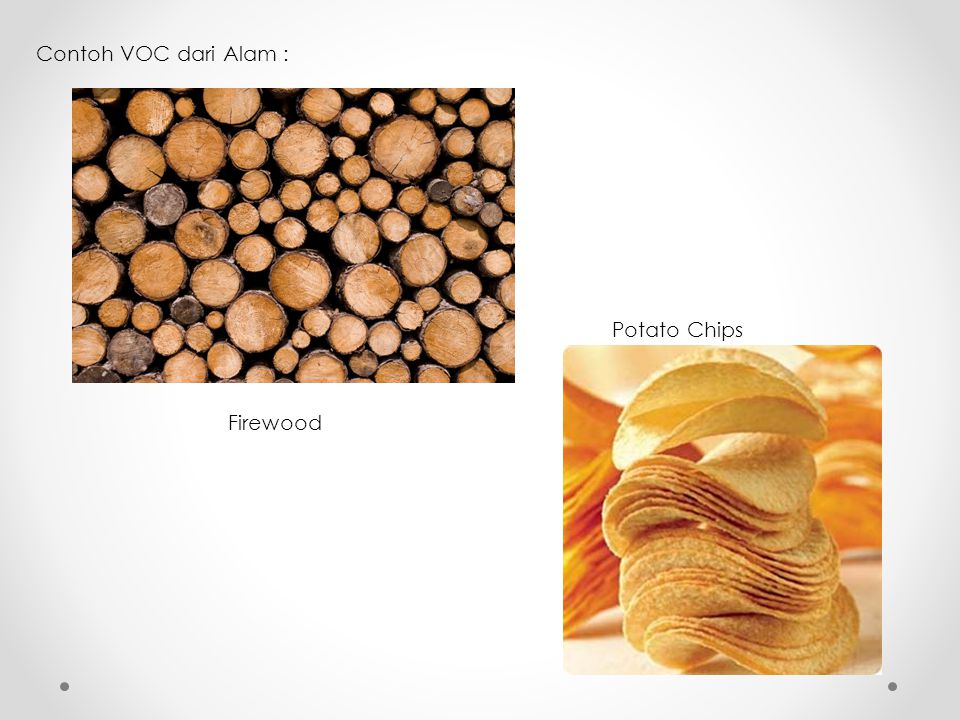 Contoh VOC dari Alam : Potato Chips Firewood