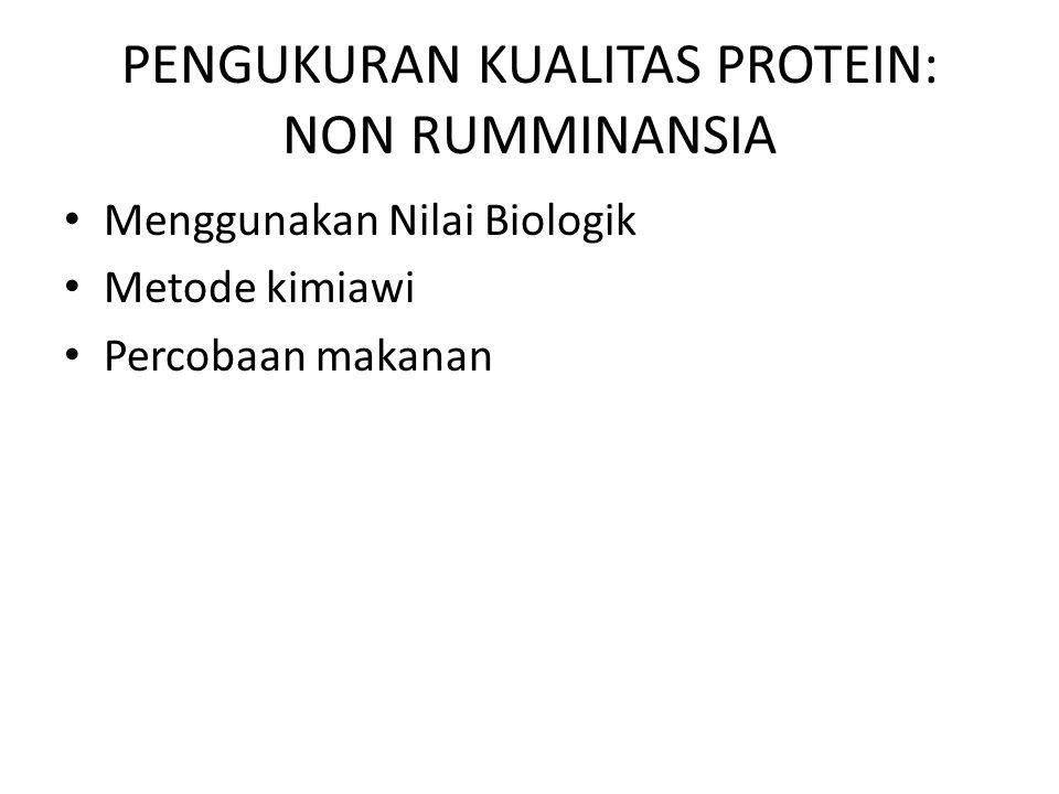 PENGUKURAN KUALITAS PROTEIN: NON RUMMINANSIA
