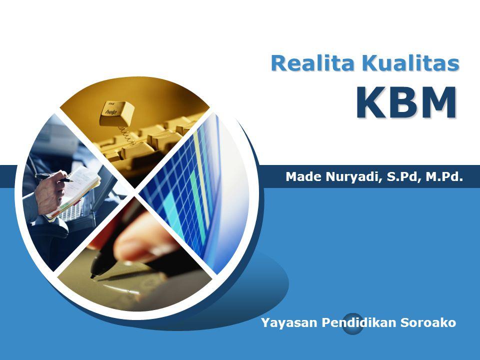 Realita Kualitas KBM Made Nuryadi, S.Pd, M.Pd.