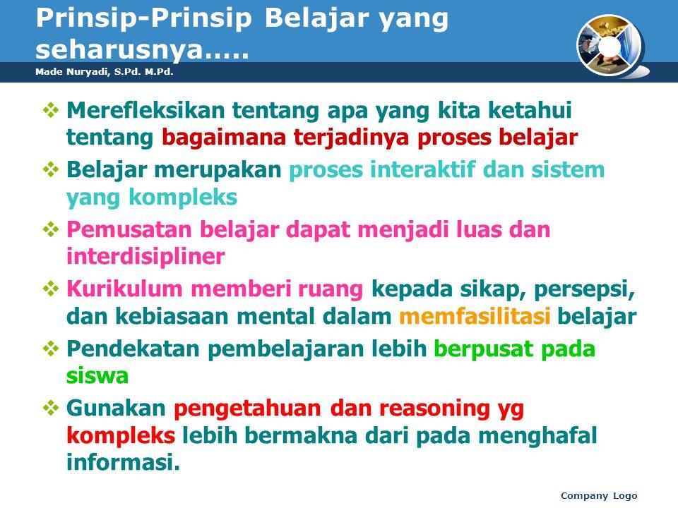 Prinsip-Prinsip Belajar yang seharusnya…..