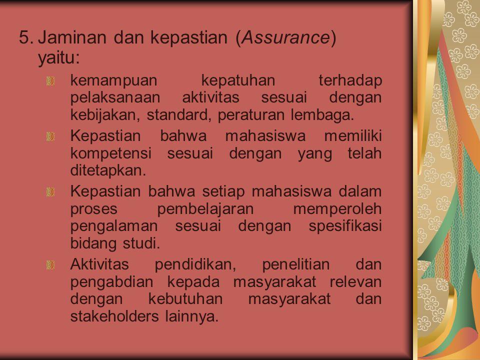 Jaminan dan kepastian (Assurance) yaitu: