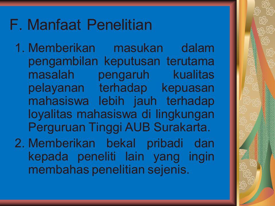 F. Manfaat Penelitian