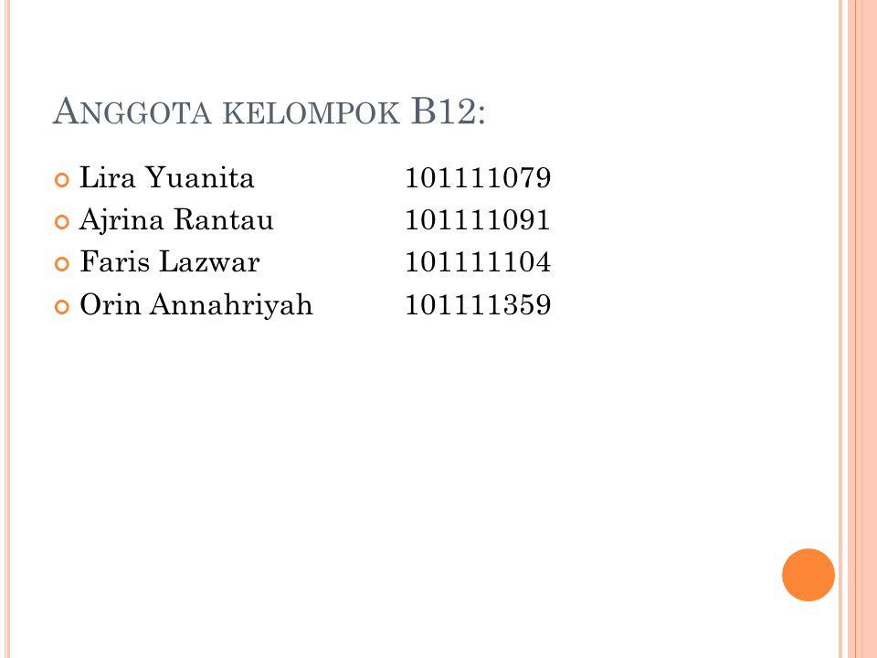 Anggota kelompok B12: Lira Yuanita 101111079 Ajrina Rantau 101111091