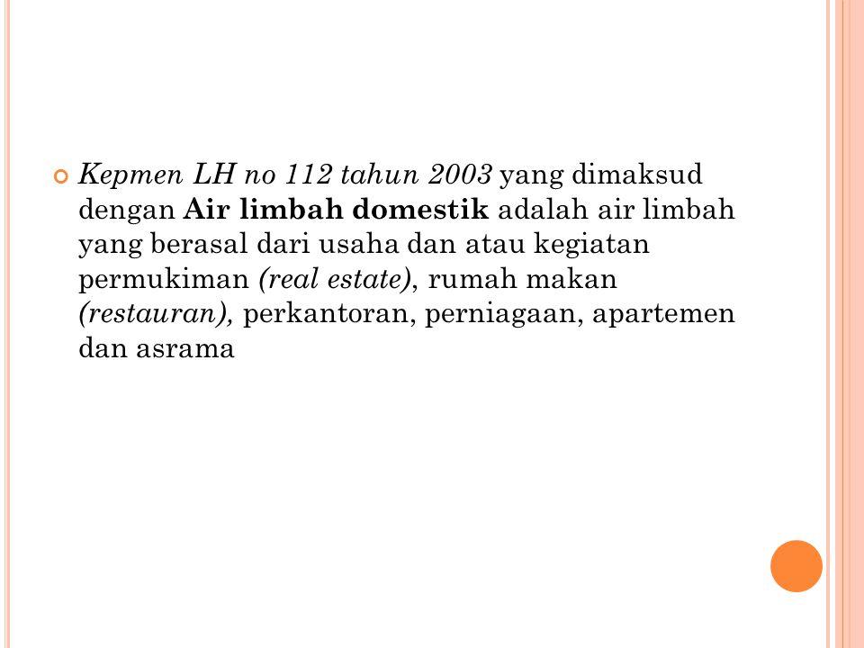 Kepmen LH no 112 tahun 2003 yang dimaksud dengan Air limbah domestik adalah air limbah yang berasal dari usaha dan atau kegiatan permukiman (real estate), rumah makan (restauran), perkantoran, perniagaan, apartemen dan asrama