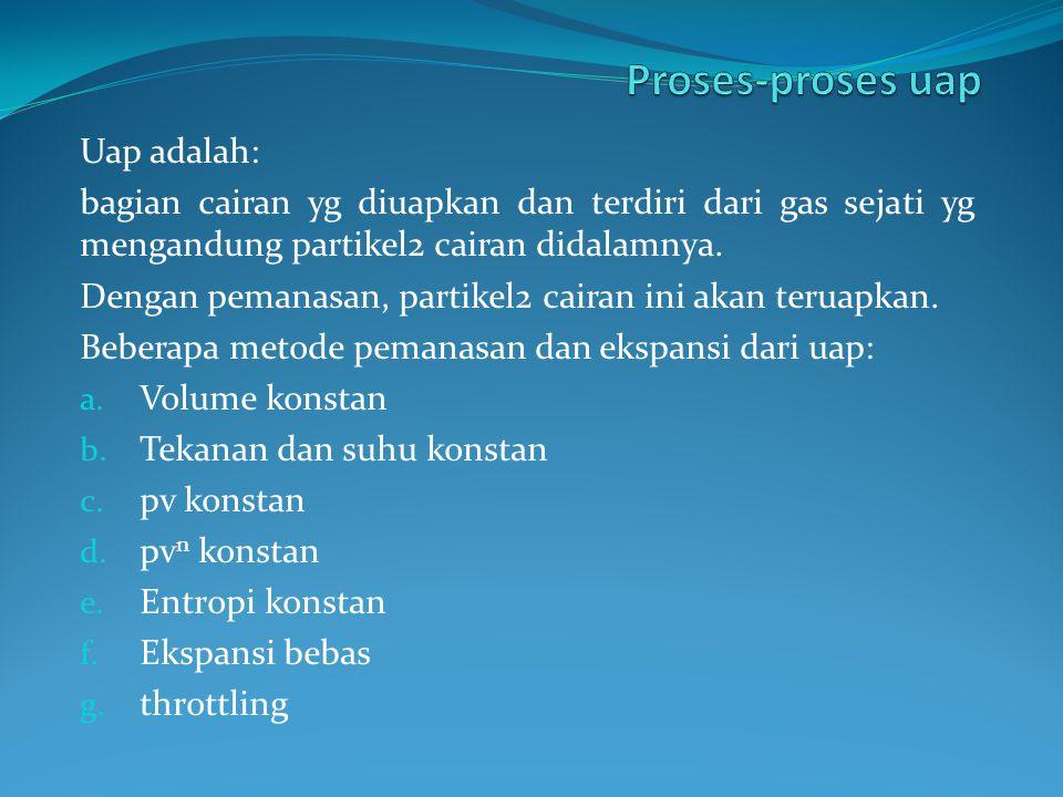 Proses-proses uap Uap adalah: