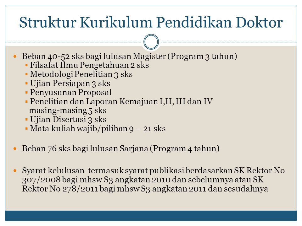 Struktur Kurikulum Pendidikan Doktor
