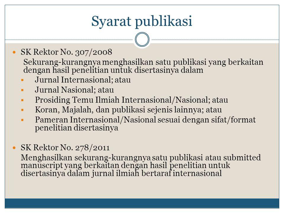 Syarat publikasi SK Rektor No. 307/2008