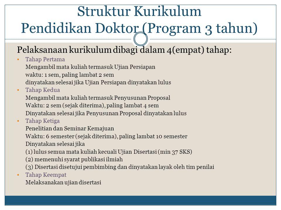 Struktur Kurikulum Pendidikan Doktor (Program 3 tahun)
