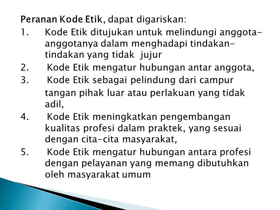Peranan Kode Etik, dapat digariskan: 1