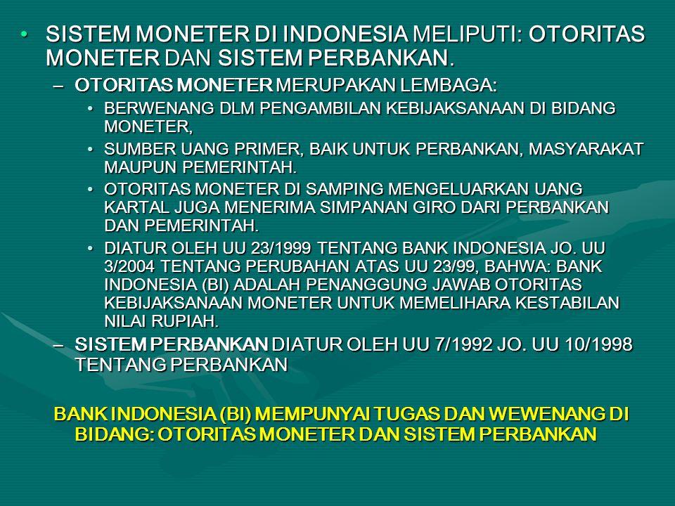 SISTEM MONETER DI INDONESIA MELIPUTI: OTORITAS MONETER DAN SISTEM PERBANKAN.