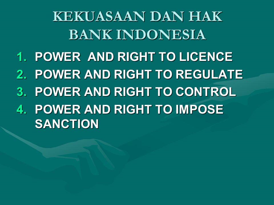 KEKUASAAN DAN HAK BANK INDONESIA