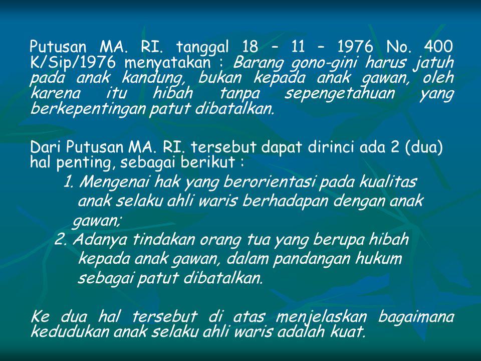 Putusan MA. RI. tanggal 18 – 11 – 1976 No