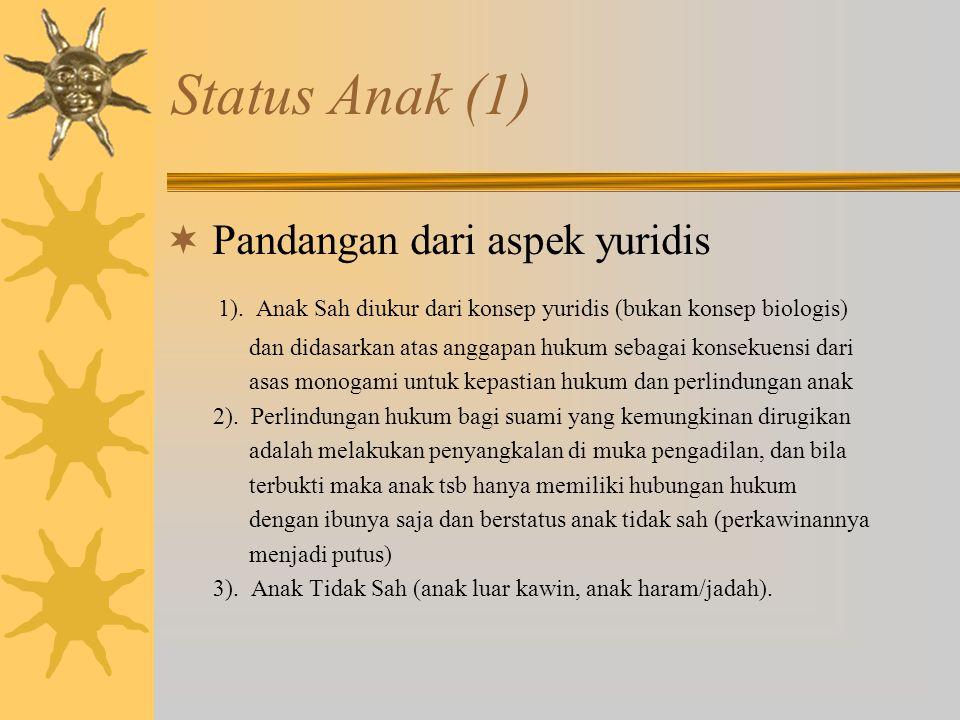 Status Anak (1) Pandangan dari aspek yuridis