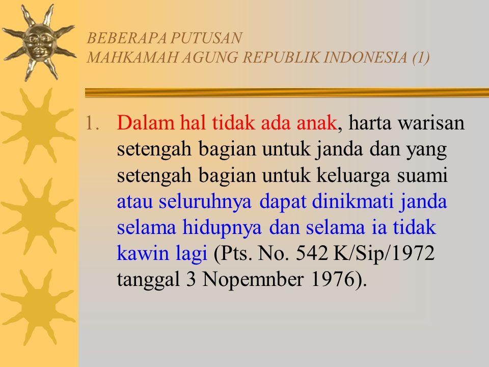 BEBERAPA PUTUSAN MAHKAMAH AGUNG REPUBLIK INDONESIA (1)