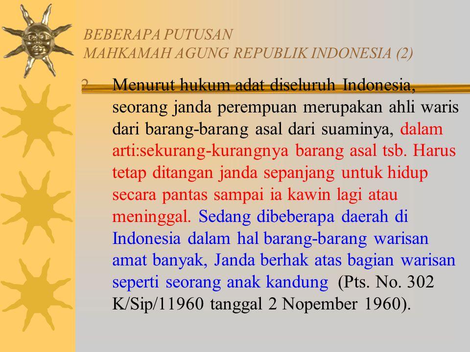 BEBERAPA PUTUSAN MAHKAMAH AGUNG REPUBLIK INDONESIA (2)