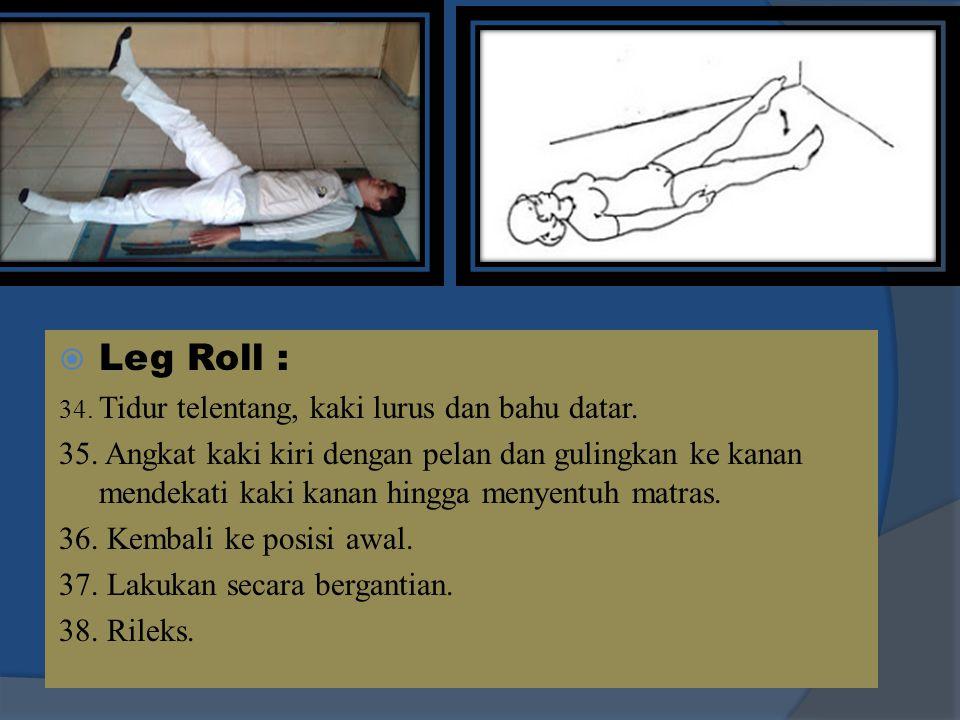 Leg Roll : 34. Tidur telentang, kaki lurus dan bahu datar.