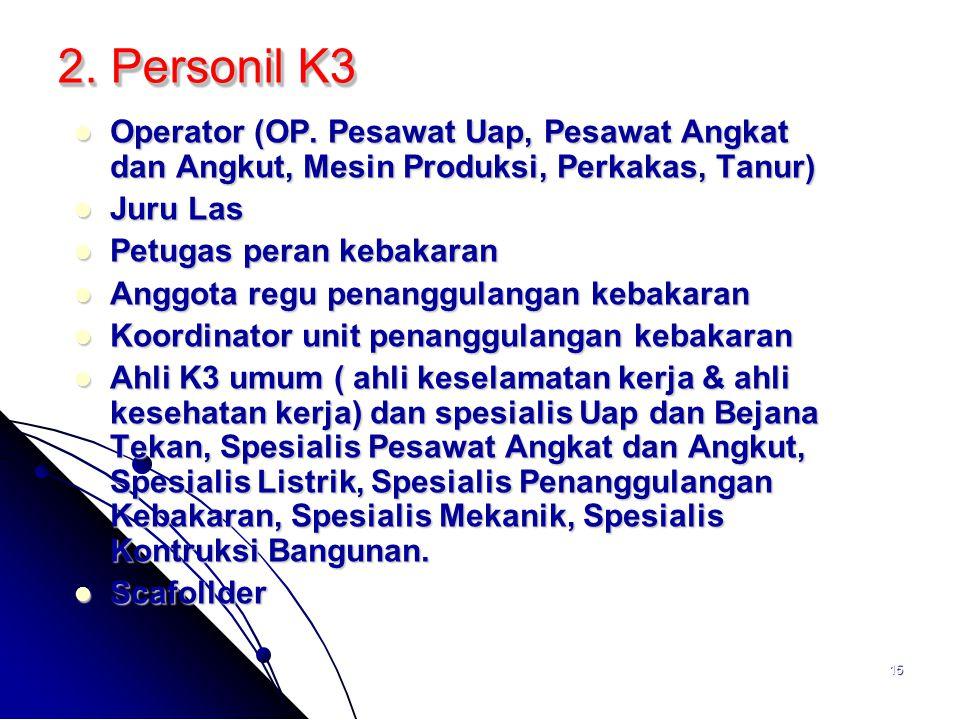 2. Personil K3 Operator (OP. Pesawat Uap, Pesawat Angkat dan Angkut, Mesin Produksi, Perkakas, Tanur)