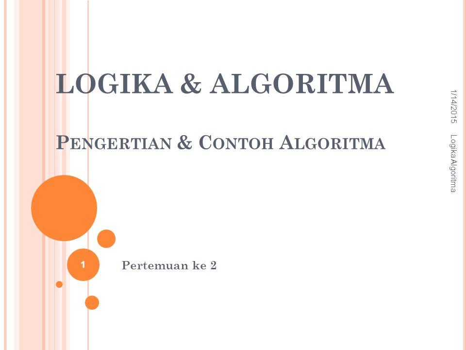 LOGIKA & ALGORITMA Pengertian & Contoh Algoritma