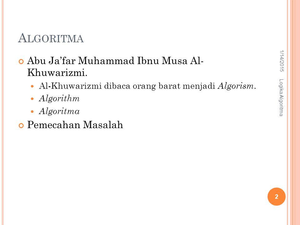 Algoritma Abu Ja'far Muhammad Ibnu Musa Al- Khuwarizmi.