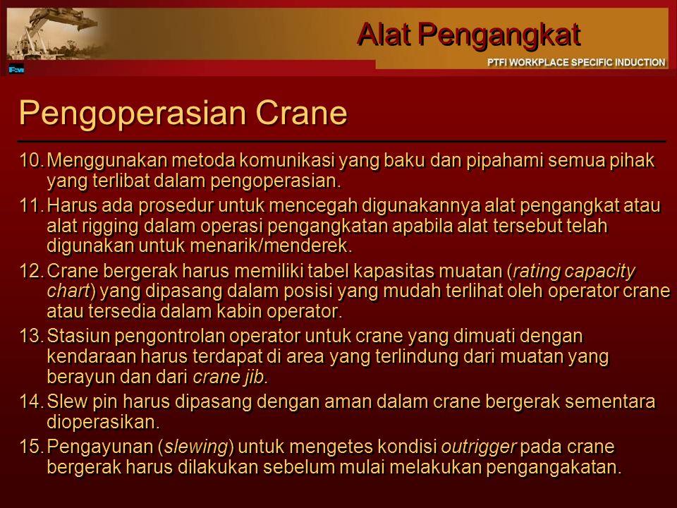 Pengoperasian Crane Menggunakan metoda komunikasi yang baku dan pipahami semua pihak yang terlibat dalam pengoperasian.