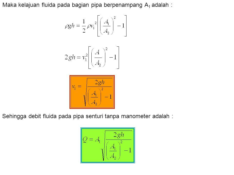Maka kelajuan fluida pada bagian pipa berpenampang A1 adalah :