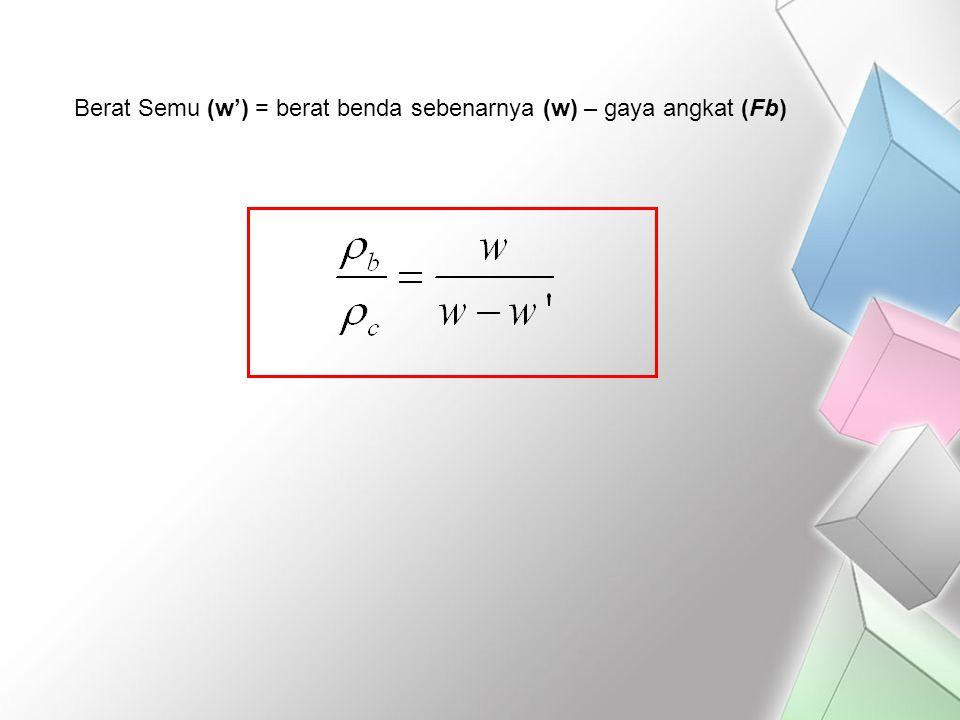 Berat Semu (w') = berat benda sebenarnya (w) – gaya angkat (Fb)