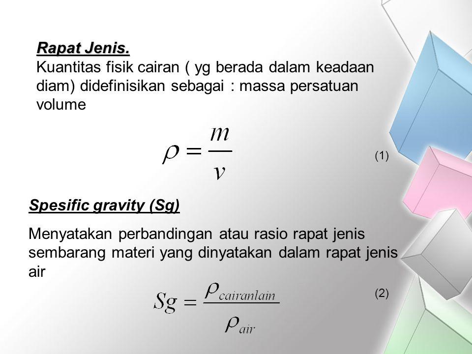 Rapat Jenis. Kuantitas fisik cairan ( yg berada dalam keadaan diam) didefinisikan sebagai : massa persatuan volume.
