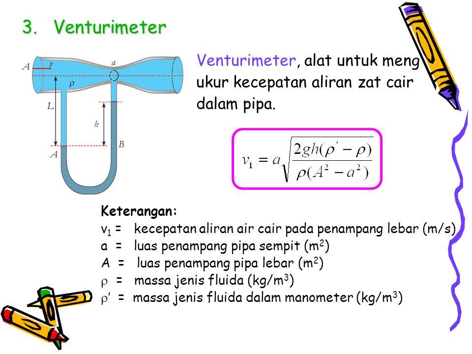 Venturimeter Venturimeter, alat untuk meng ukur kecepatan aliran zat cair dalam pipa. Keterangan: