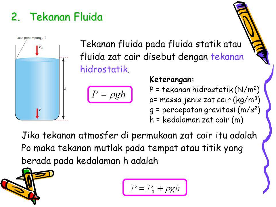 Tekanan Fluida Tekanan fluida pada fluida statik atau fluida zat cair disebut dengan tekanan hidrostatik.