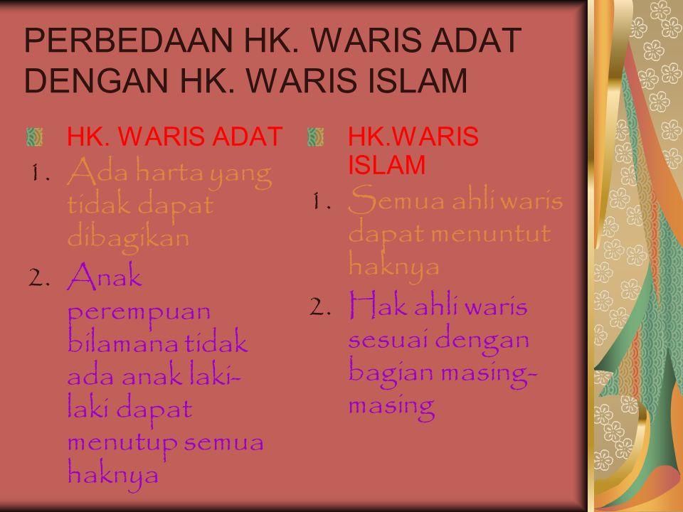 PERBEDAAN HK. WARIS ADAT DENGAN HK. WARIS ISLAM