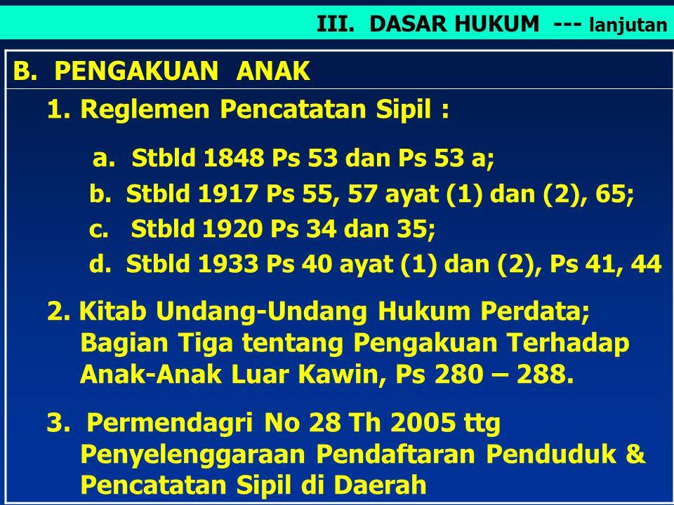 Reglemen Pencatatan Sipil : a. Stbld 1848 Ps 53 dan Ps 53 a;