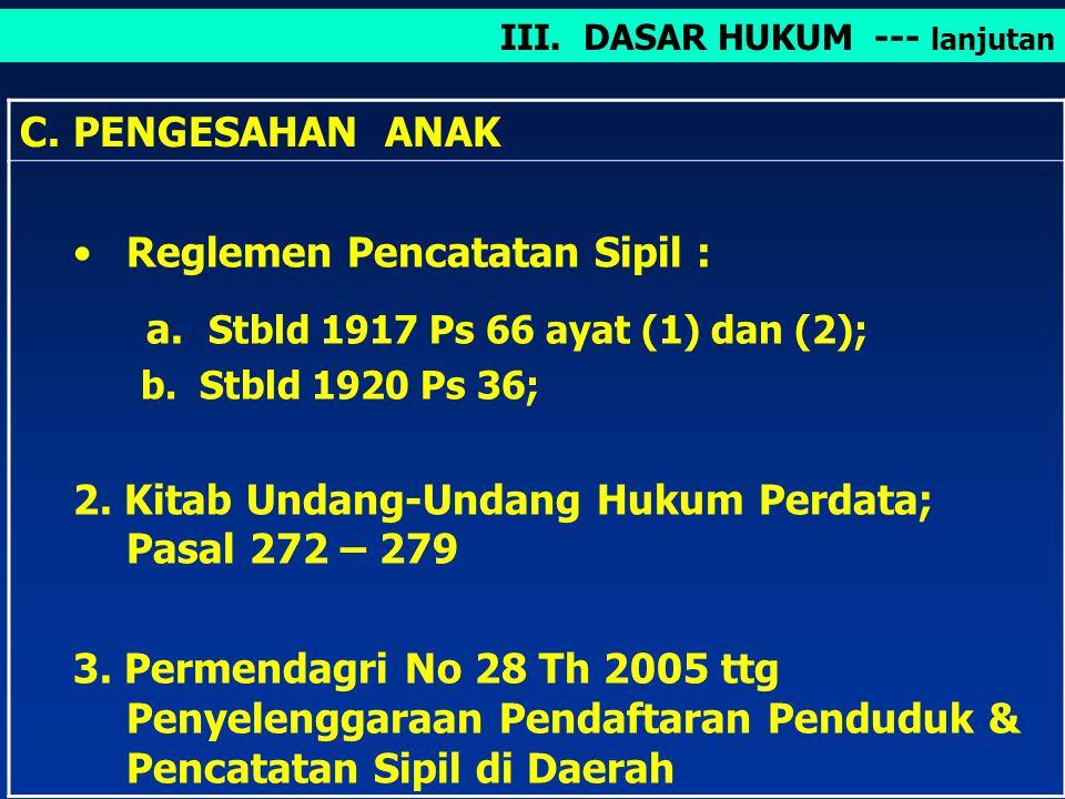 Reglemen Pencatatan Sipil : a. Stbld 1917 Ps 66 ayat (1) dan (2);
