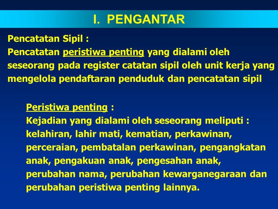 I. PENGANTAR Pencatatan Sipil :