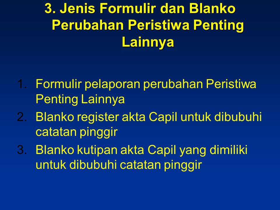 3. Jenis Formulir dan Blanko Perubahan Peristiwa Penting Lainnya