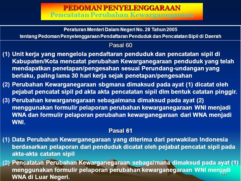 PEDOMAN PENYELENGGARAAN Pencatatan Perubahan Kewarganegaraan