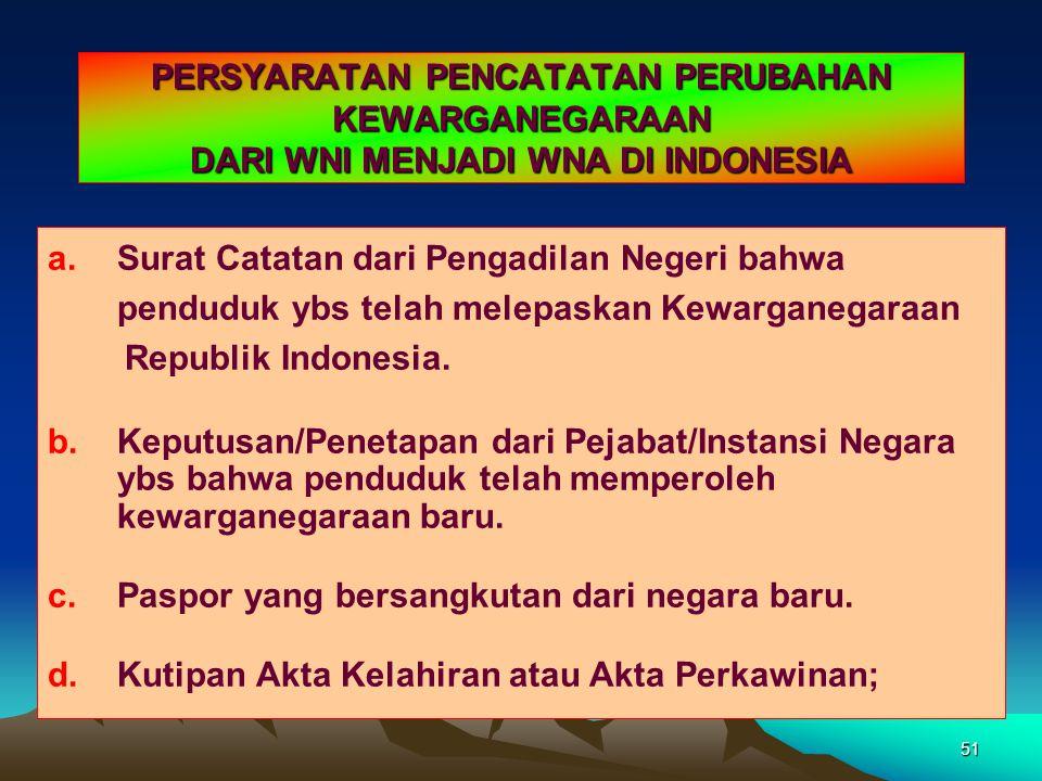 PERSYARATAN PENCATATAN PERUBAHAN KEWARGANEGARAAN DARI WNI MENJADI WNA DI INDONESIA