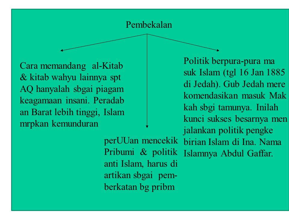 Pembekalan Politik berpura-pura ma. suk Islam (tgl 16 Jan 1885. di Jedah). Gub Jedah mere. komendasikan masuk Mak.