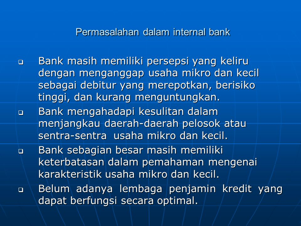 Permasalahan dalam internal bank