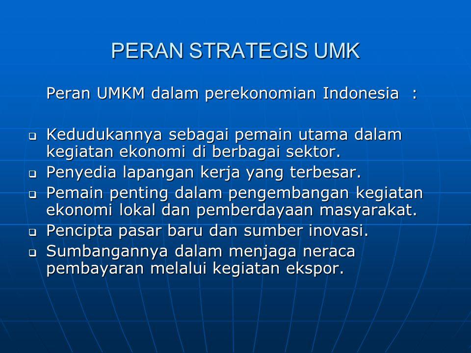 PERAN STRATEGIS UMK Peran UMKM dalam perekonomian Indonesia :