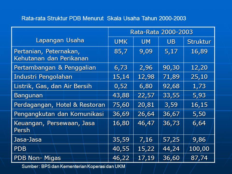 Rata-rata Struktur PDB Menurut Skala Usaha Tahun 2000-2003