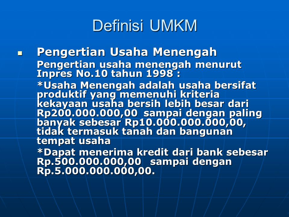 Definisi UMKM Pengertian Usaha Menengah