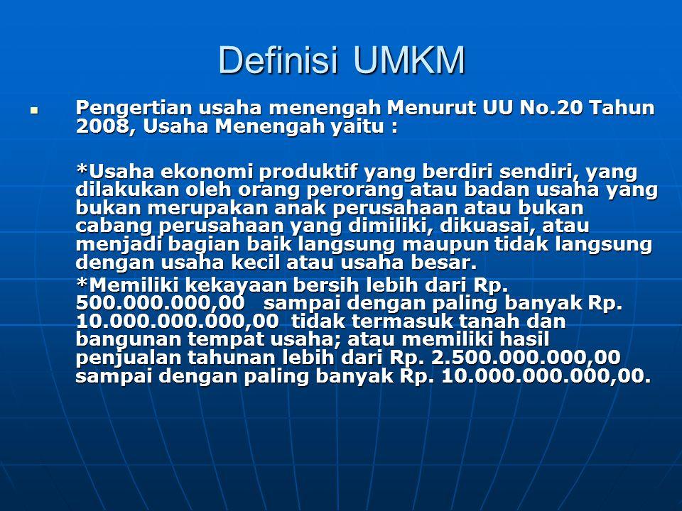 Definisi UMKM Pengertian usaha menengah Menurut UU No.20 Tahun 2008, Usaha Menengah yaitu :