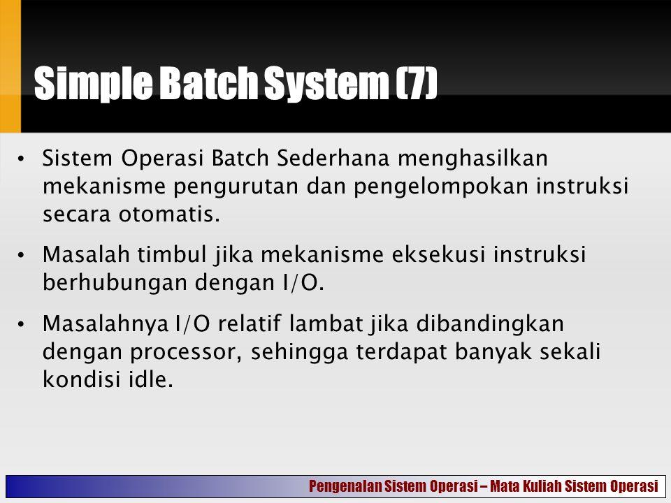 Simple Batch System (7) Sistem Operasi Batch Sederhana menghasilkan mekanisme pengurutan dan pengelompokan instruksi secara otomatis.