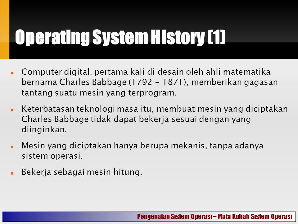 Operating System History (1)