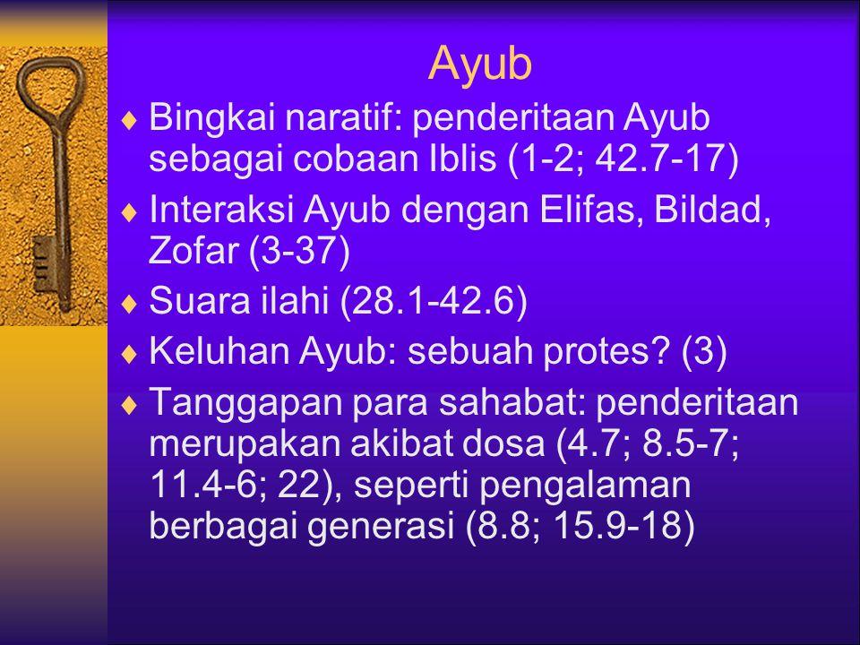 Ayub Bingkai naratif: penderitaan Ayub sebagai cobaan Iblis (1-2; 42.7-17) Interaksi Ayub dengan Elifas, Bildad, Zofar (3-37)