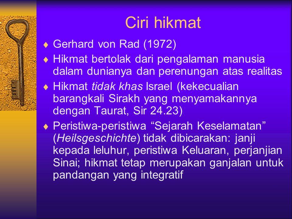 Ciri hikmat Gerhard von Rad (1972)