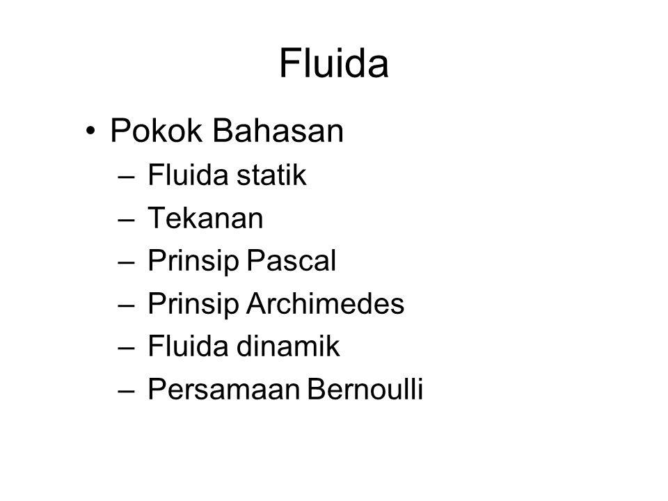 Fluida Pokok Bahasan Fluida statik Tekanan Prinsip Pascal