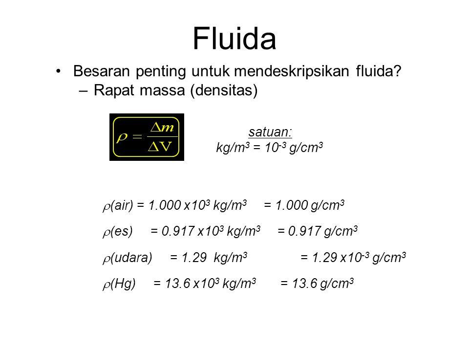 Fluida Besaran penting untuk mendeskripsikan fluida