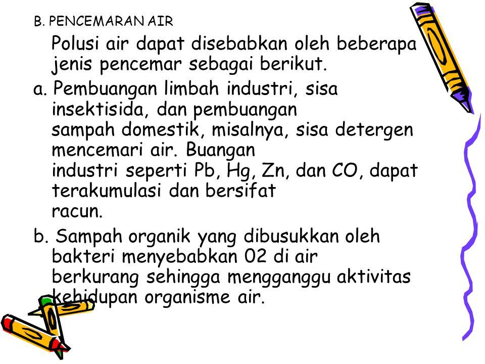 B. PENCEMARAN AIR Polusi air dapat disebabkan oleh beberapa jenis pencemar sebagai berikut.