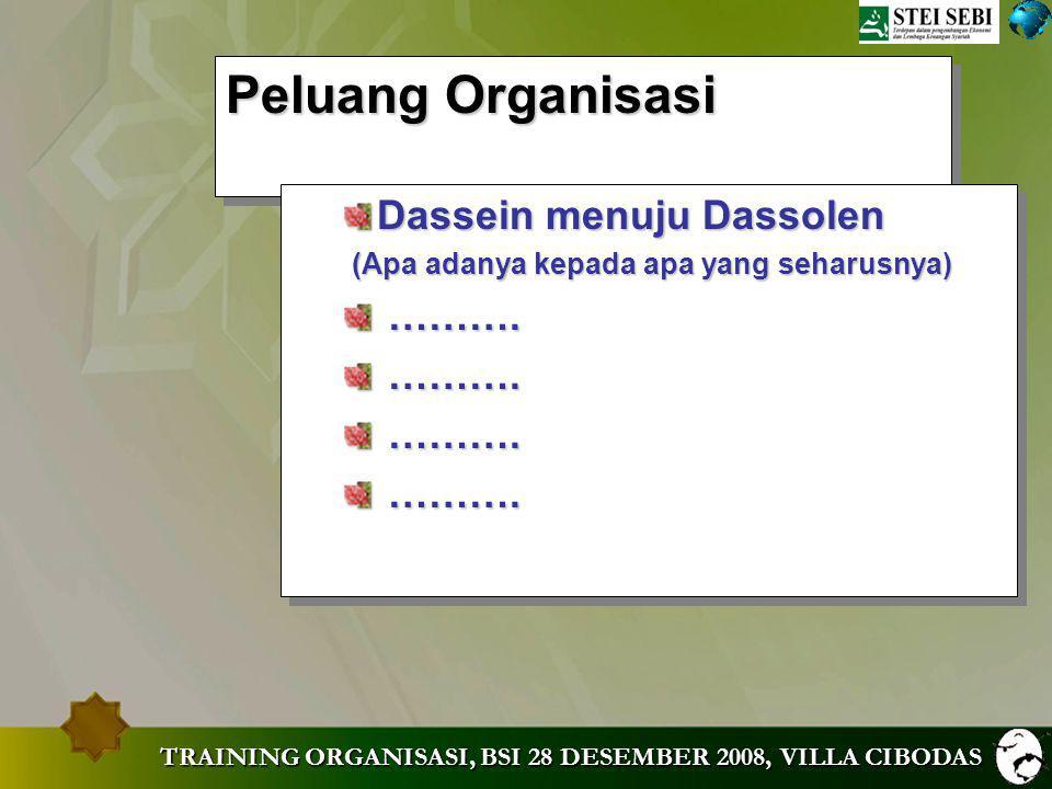 Peluang Organisasi Dassein menuju Dassolen ……….